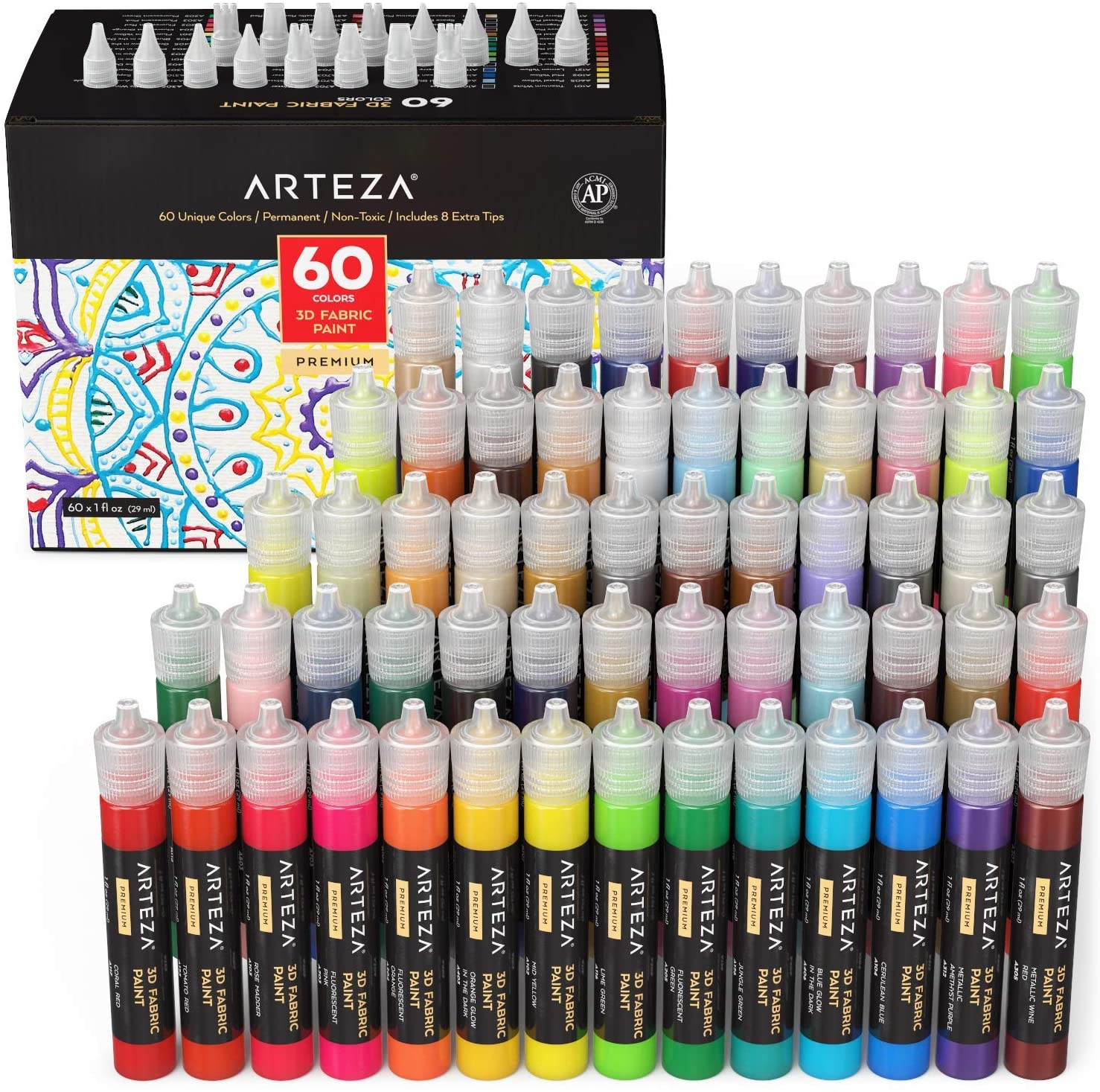 Arteza 60 color set incl glow in the dark fabric paint 1