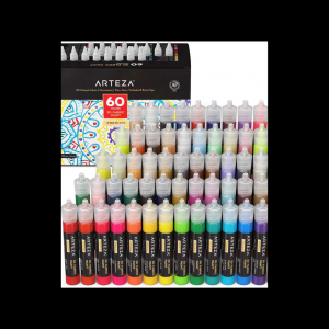 Arteza 60 color set incl glow in the dark fabric paint featured