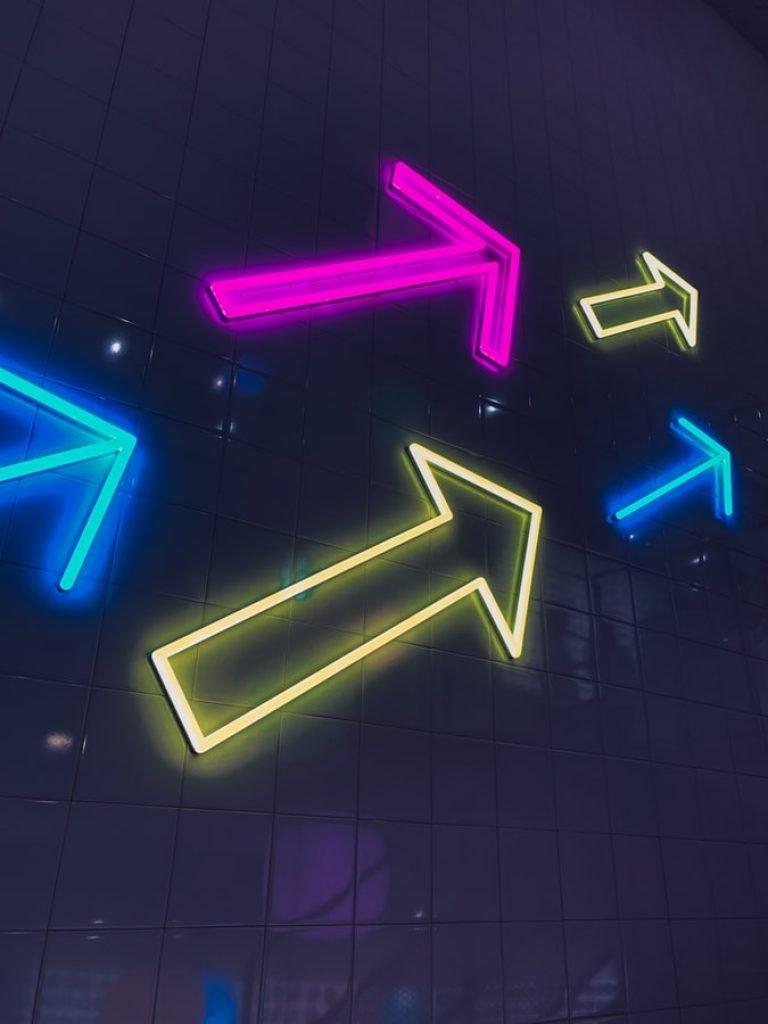 arrows up neon lights glow in the dark