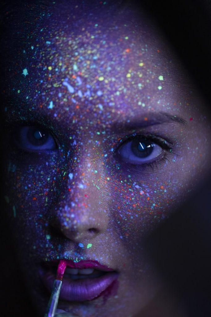 glow in the dark female face