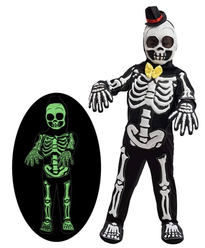 glow in the dark kids skeleton costume halloween