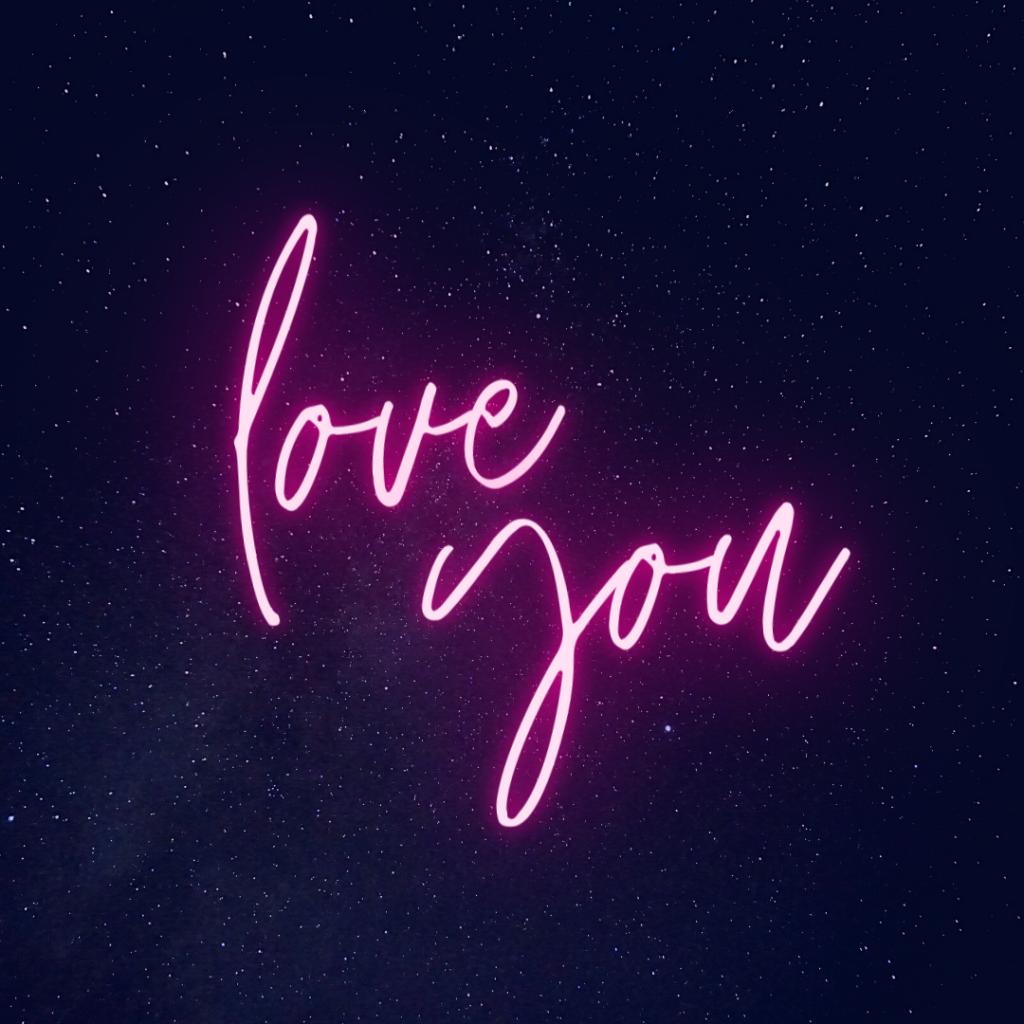 love you neon design canva