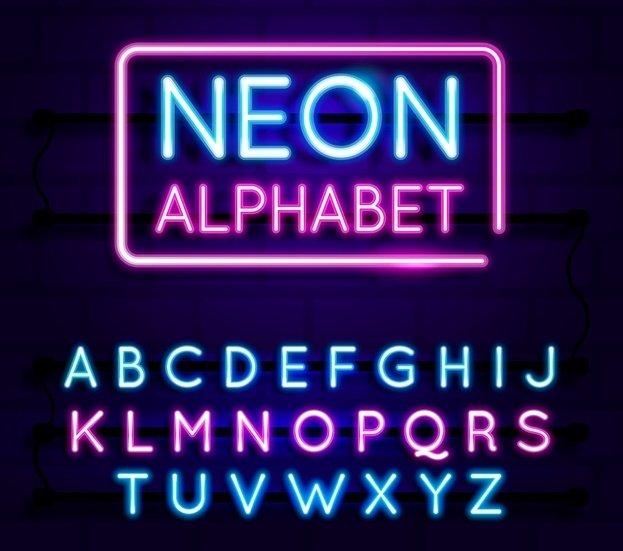 neon alphabet glow in the dark thesaurus