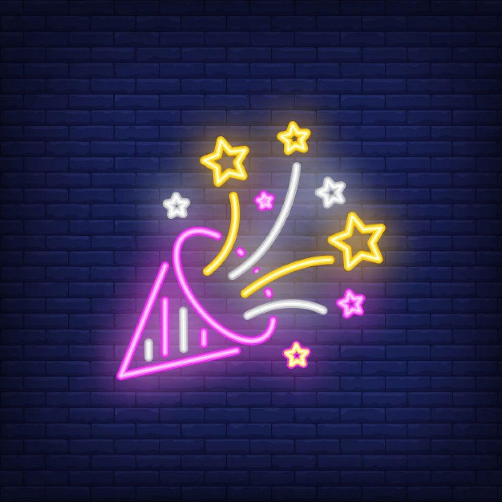 neon party cone