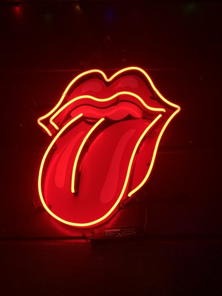 neon rolling stones mouth