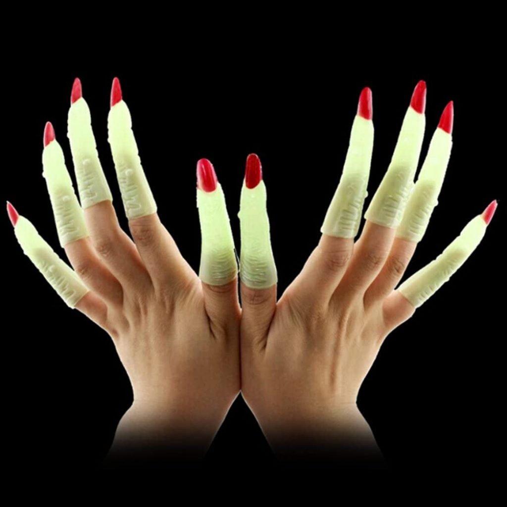 witch fingers halloween accessories glow in the dark