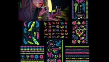 Howaf assortment of 100+ glow in the dark body art temporary tattoos, detailed review