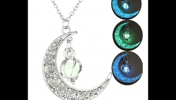Nuoxian Glow in the Dark necklace with moon spiral pendant, detailed review