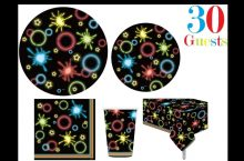 Oojami Neon Glow in the Dark Plates and party supplies, detailed review