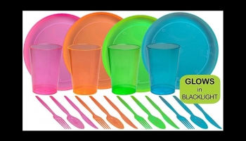 Tiger Chef Neon Glow in the Dark Plates and party supplies, detailed review