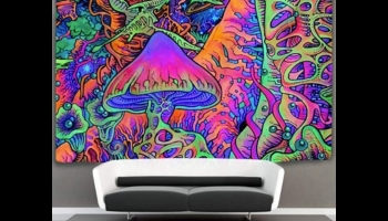 Trippy Mushroom Glow in the Dark Blacklight Poster, detailed review