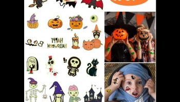 Yafeite assortment of 190 glow in the dark Halloween-themed temporary tattoos, detailed review